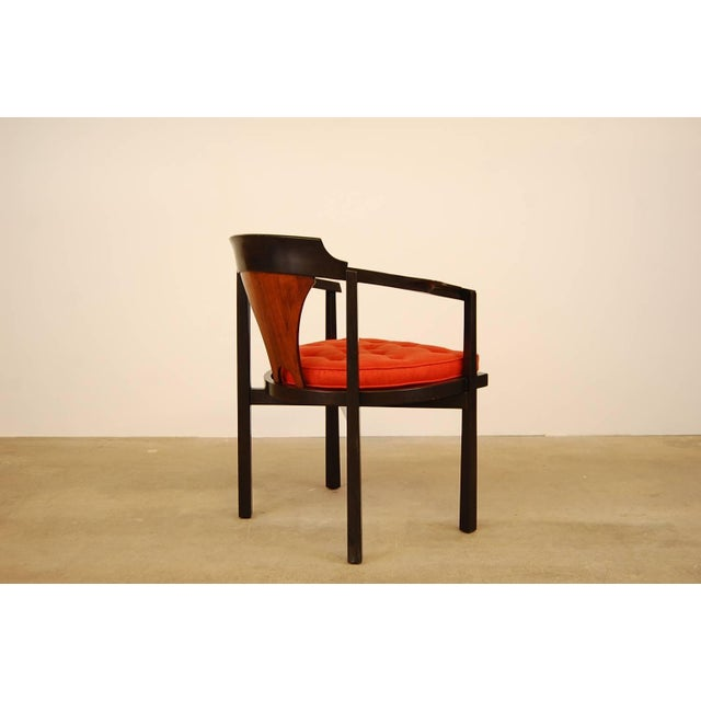 """Horseshoe"" chair in mahogany and rosewood, designed by Edward Wormley, and produced by Dunbar, circa 1965. Design is..."
