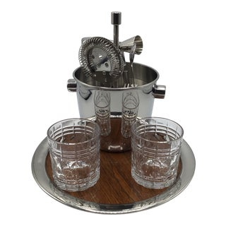 Stieff Pewter Serving Tray With Stainless Steel Bar Tool/Ice Bucket Set and 2 Cut Crystal Whisky Glasses-Set of 9 For Sale