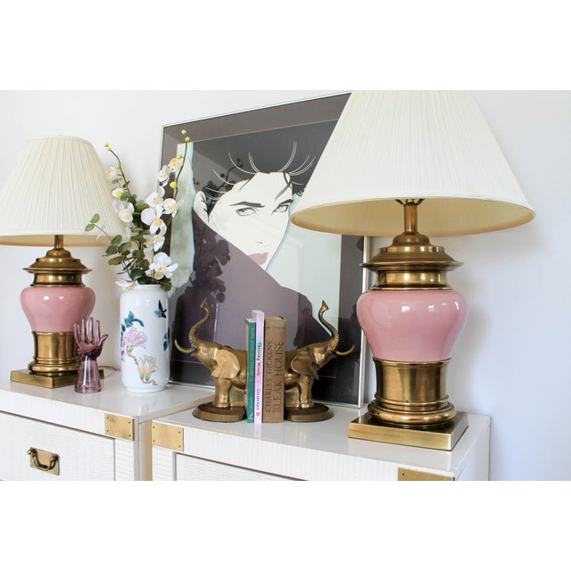 Pink and Brass Vintage Table Lamps - a Pair For Sale - Image 11 of 12