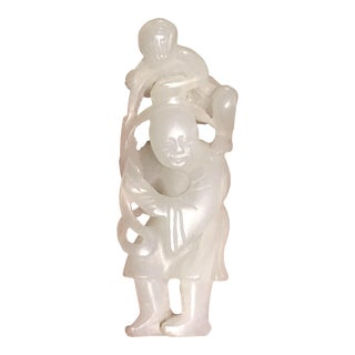 Ming Dynasty Chinese White Jade 'Boy and Monkey' Waist Pendant For Sale