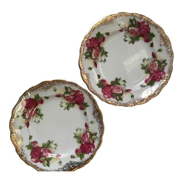Vintage Gold & Rose Pattern Plates - A Pair For Sale