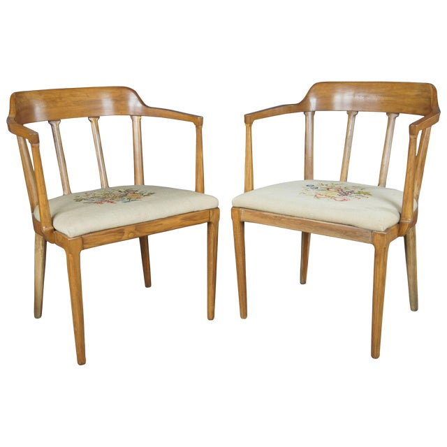 Mid Century Modern Tomlinson Walnut Dining Chairs- A Pair For Sale