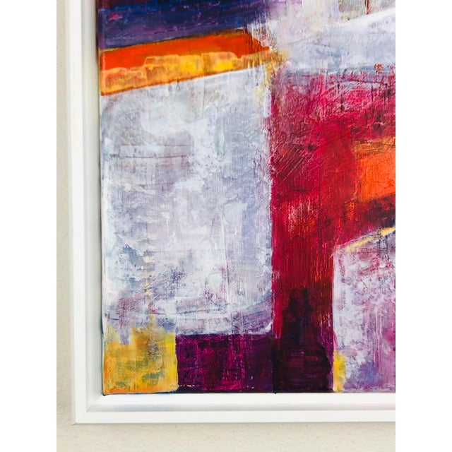 This is a lovely painting that depicts geometric abstract style. The colors combine the warmth of rich quinacridone...
