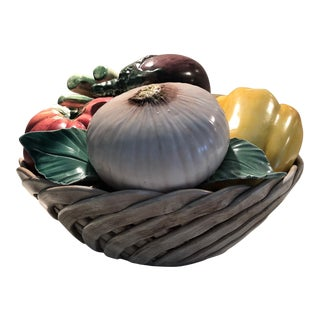 Vintage Italian Ceramic Vegetable Centerpiece For Sale