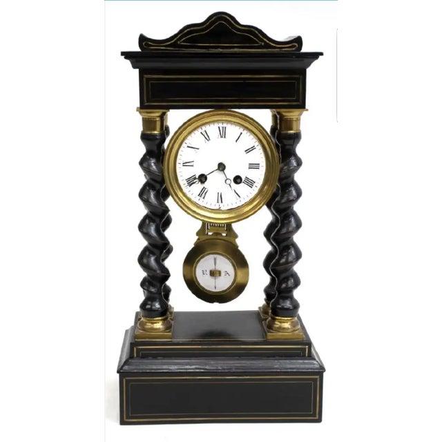 Mid 19th Century Antique French Napoleon III Period Vincenti Et Cie Ebonized Portico Mantle Clock For Sale - Image 5 of 5