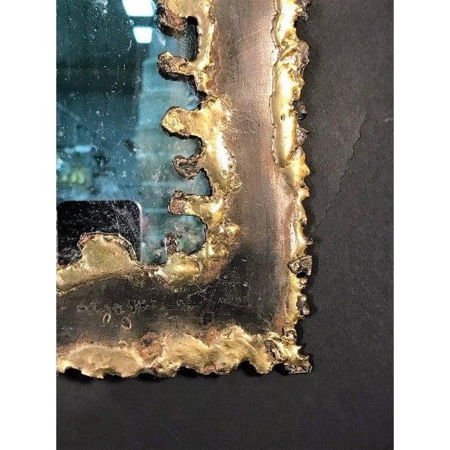 Brutalist Brutalist Torch Cut Framed Rectangular Mirror For Sale - Image 3 of 7