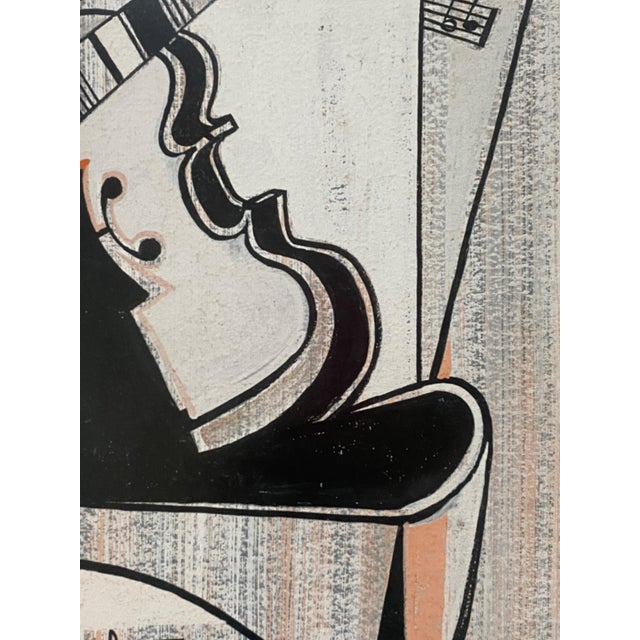 Mid-Century Modern Cubist Pastels Painting of Guitar For Sale - Image 9 of 13