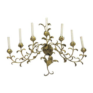 Vintage 7 Arm Gold Painted Oversized Sconce For Sale