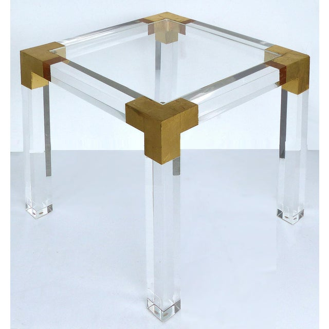 Modern Custom Lucite Side Table With Interchangeable Tops and Gold Leaf Accents For Sale - Image 3 of 10
