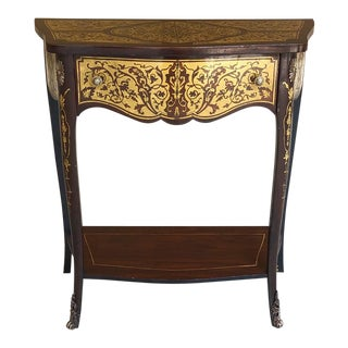19th Century French Mahogany Console Intricately Inlaid With Brass For Sale