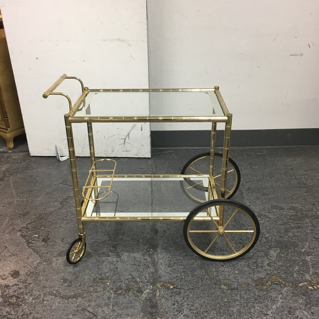 Two Tiered Brass & Glass Bar Cart - Image 2 of 7