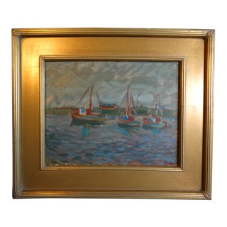 """1940s """"Boats in Morro Bay"""" Landscape Oil Painting by Anders Aldrin, Framed For Sale"""
