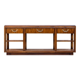 Vintage Campaign Drexel Accolade Sofa Table For Sale