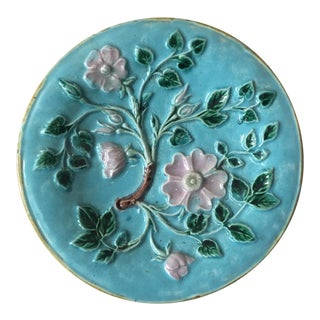 1880s English Majolica Flowers Aqua Plate For Sale