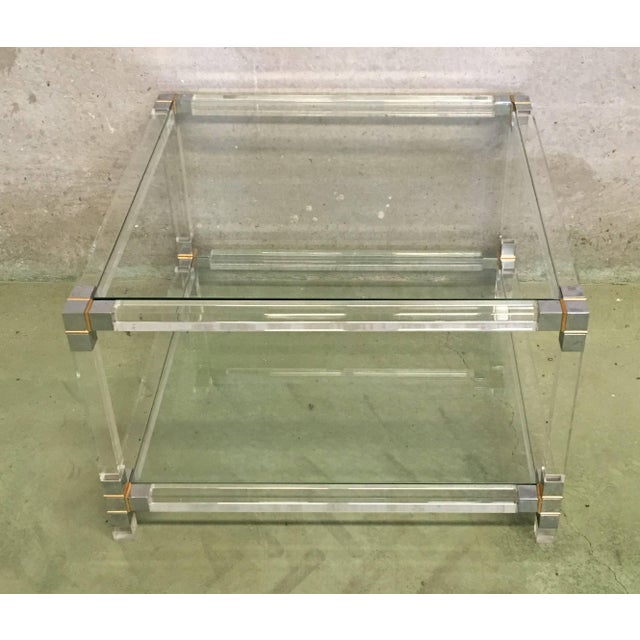 Midcentury Square Lucite Coffee Table With Chromed Metal Details For Sale - Image 11 of 13