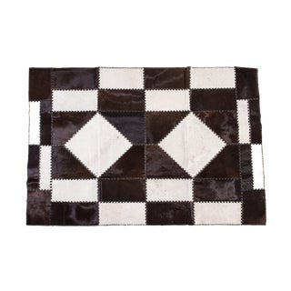 "Cowhide Patchwork Area Rug - 6'6"" x 4'7"" For Sale"