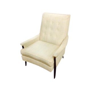 Mid Century Modern White Lounge Chair For Sale