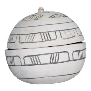 African Decorative Lidded Bowl For Sale