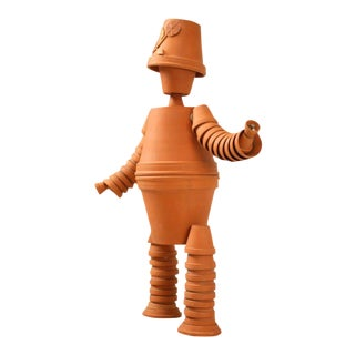 Vintage English Terra-Cotta Pot Man Sculpture for Home or Garden For Sale