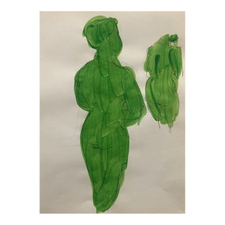 Mid-Century Green Female Nude From the Rear 1950s For Sale