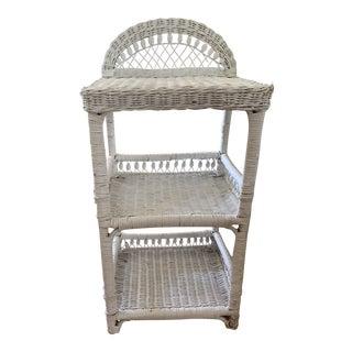 Vintage White Wicker Decor Shelf For Sale