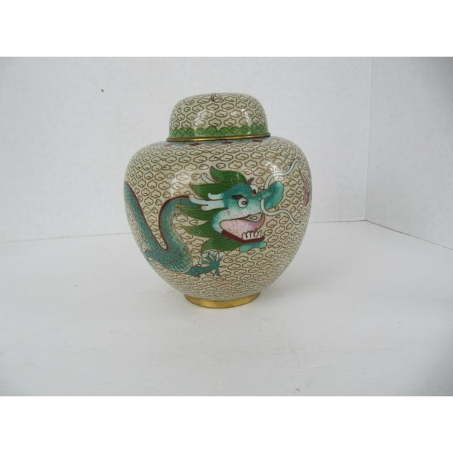 Green Cloisonné Giner Jar With Dragon For Sale - Image 8 of 8