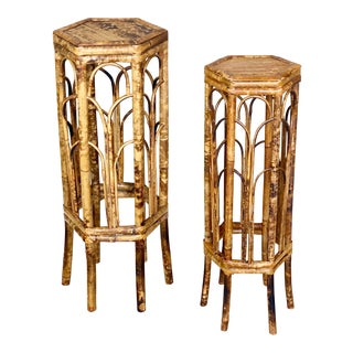 1970s Chippendale Style Burnt Tortoise Bamboo Plant Stands - a Pair For Sale