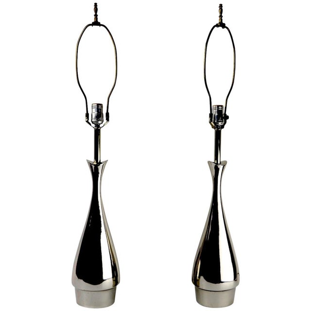 Pair of Teardrop Form Laurel Lamps Attributed to Tony Paul For Sale - Image 11 of 11