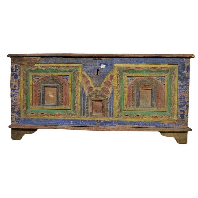 Antique Indian Hand-Carved and Painted Trunk with Patina, 19th Century For Sale In New York - Image 6 of 11