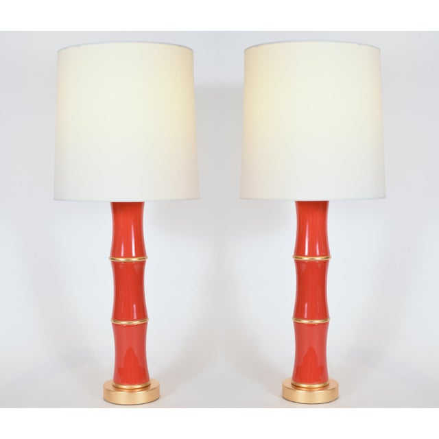 Mid-Century Modern Orange Porcelain Table Lamp With Gold Wood Base - a Pair For Sale - Image 3 of 10