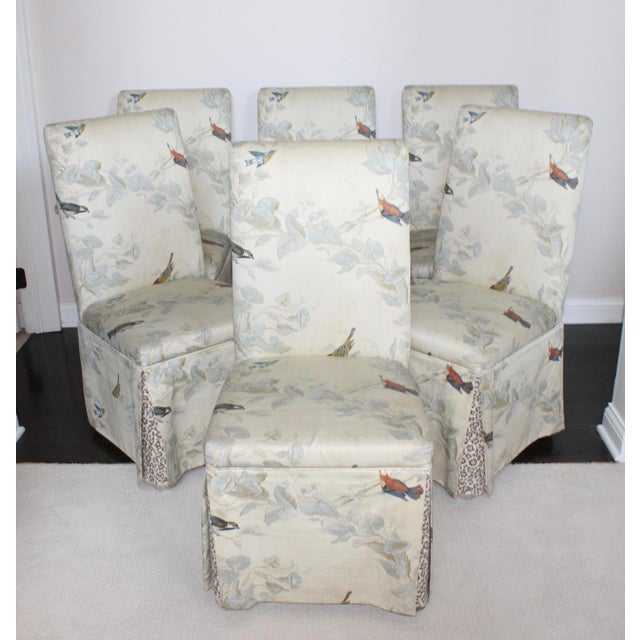 Paper Hollywood Regency French Floral Animal Print Parson Dining Chairs - Set of 6 For Sale - Image 7 of 7