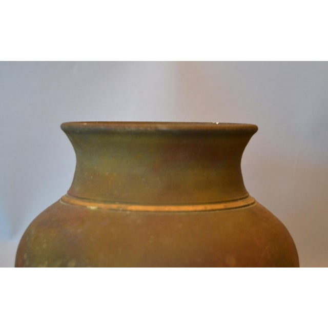 Signed Mid-Century Modern Brown, Blue & Gold American Raku Vase, Vessel, Urn For Sale In Miami - Image 6 of 13