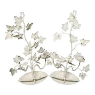 White Candle Sconces - a Pair