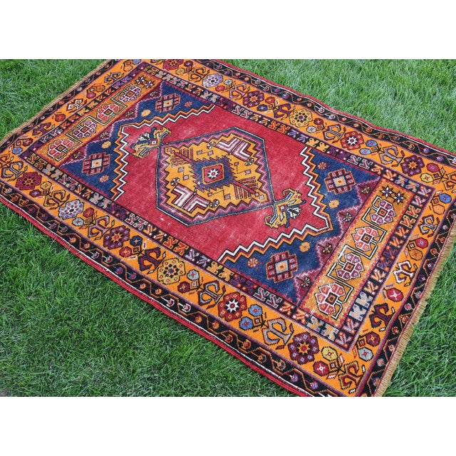 Antique Nomadic Hand-Knotted Anatolian Carpet - 3′10″ × 5′9″ For Sale - Image 4 of 6