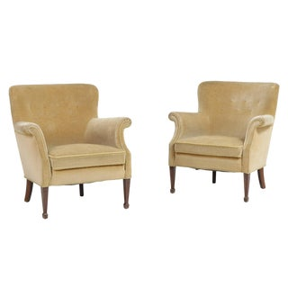 Danish Modern Lounge Chairs by Frits Henningsen- A Pair For Sale