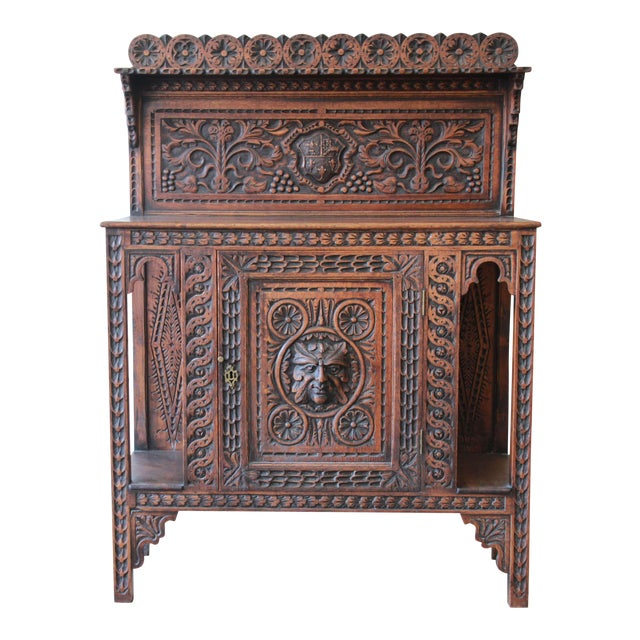 19th Century English Ornate Carved Oak Sideboard Bar Cabinet For Sale