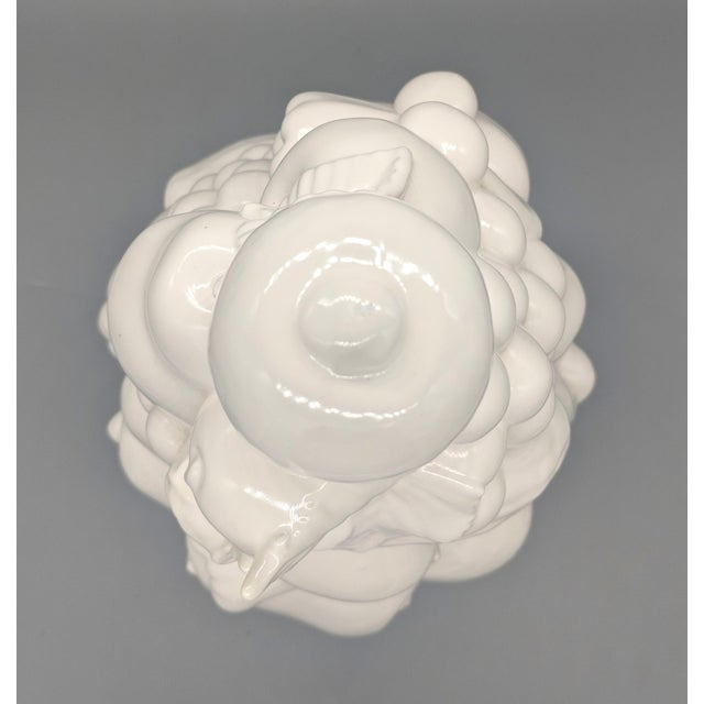 White Large 1967 Vintage White Fruit Basket Topiary Centerpiece For Sale - Image 8 of 13