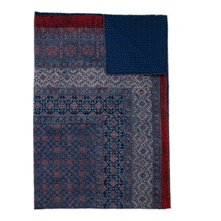 Samara Hand Stitched Quilted Tablecloth, 6-seat table - Indigo & Deep Red For Sale