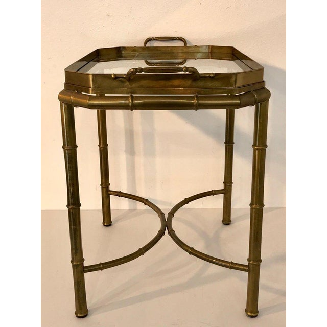 """Faux Bois Campaign style patinated brass tray table, by Mastercraft. In two parts with removable 26"""" x 15.5"""" tray with..."""