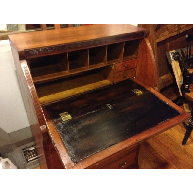Handmade Carved Slant Desk with the ID of John Hall, Quincy, Mass For Sale - Image 9 of 11