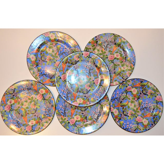 Blue 1920's Antique Crown Ducal Blue Chintz Plates - Set of 6 For Sale - Image 8 of 11