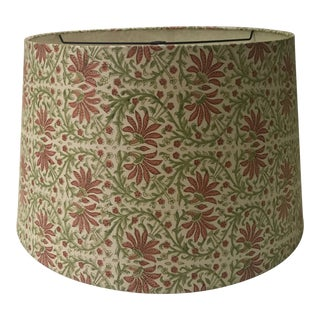 Large Green and Orange Fabric Floral Covered Drum Shade For Sale