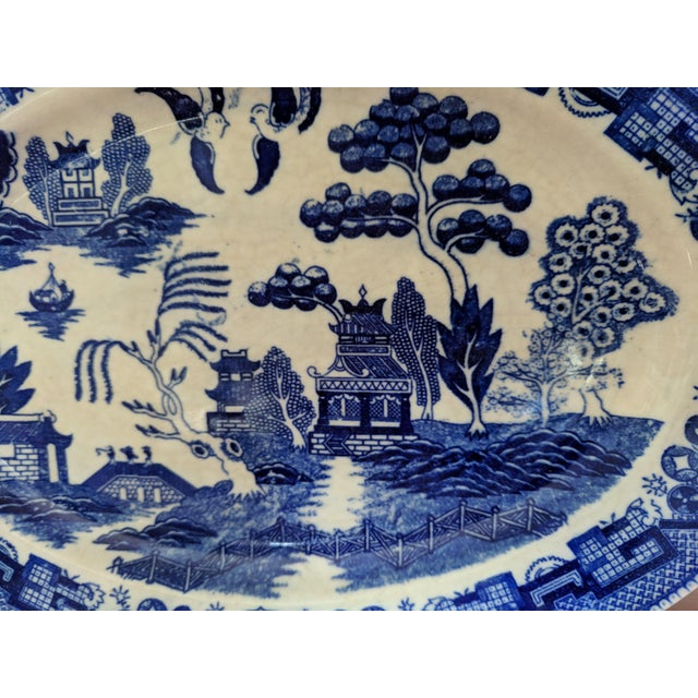 Asian Vintage Blue Willow Pagoda Decorative Platter With Hanger For Sale - Image 3 of 10
