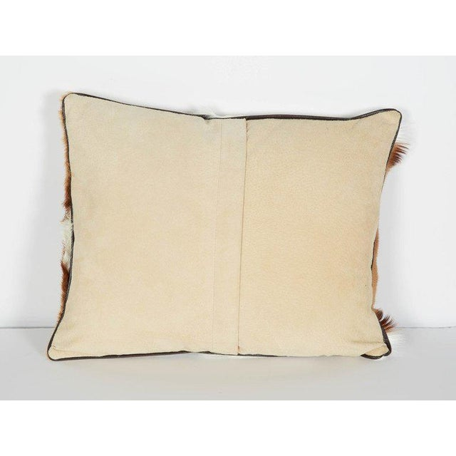 Tan Luxury Throw Pillow in Exotic African Springbok and Suede For Sale - Image 8 of 8