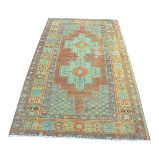 Turkish Oushak Anatolian Floor Rug - 3′10″ × 7′3″