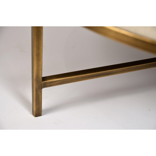 White Small White Hide and Patinated Brass 'Tambour' Ottoman by Design Frères For Sale - Image 8 of 9