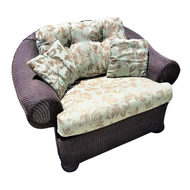 Lloyd Flanders Loom Wicker Weather Resistant Lounge Chair with Custom Cushions For Sale