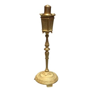 Late 19th Century Antique Erhard & Shone German Bronze Lamp Post Shape Cigarette Lighter For Sale