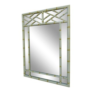 Hollywood Regency Faux Bamboo Distressed Painted Large Mirror For Sale
