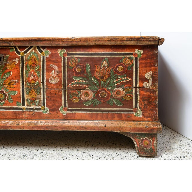 Central European painted trunk on pine. Antique.